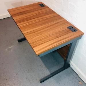Used Rectangular Desk With Modesty Panel, Walnut, Graphite Legs
