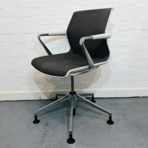Used Vitra Unix Designer Mesh Office Meeting Chair, Armrests, Black