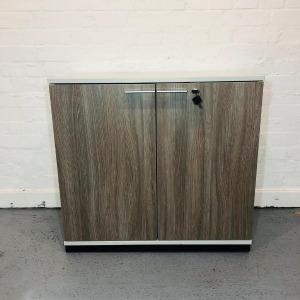 Used Desk Height Office Cupboard, 1 Shelf, Walnut / Light Grey, W800mm