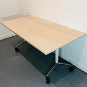 Used Sedus Mobile Fliptop / Folding Office Meeting Table, Maple 1600mm