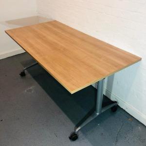 Used Orangebox Mobile Fliptop / Folding Office Meeting Table, Cherry