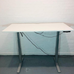 Used Fellowes Electric Sit Stand Desk, White, Width 1600mm