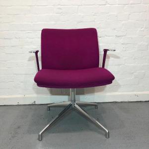Used Boss Design Tokyo Meeting Chair, Aluminium Swivel Base, Pink