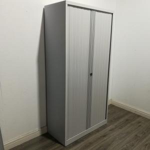 Used Bisley Tall Metal Tambour Cupboard, 5 Adjustable Shelves, White