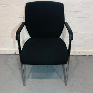 Used Stackable Meeting / Conference Chair, Four Legged, Black