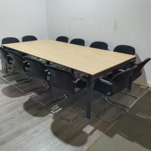 Used Rectangular Meeting Table, 12 Person, Light Oak, Length 2800mm