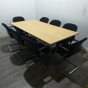 Used Rectangular Meeting Table, 8 Person, Light Oak, Length 2000mm