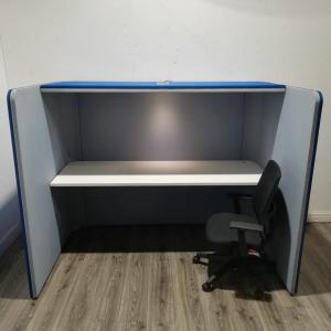 Used Large Pod Desk, Rectangular, Enclosed Design With LED Light