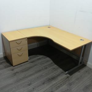 Used Radial / Corner Office Desk & 3 Drawer Pedestal, Maple, 1600mm