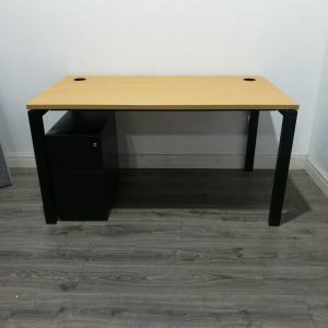 Used Rectangular Office Desk, Beech & Black 3 Drawer Pedestal