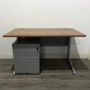 Used Rectangular Office Desk & 3 Drawer Pedestal, Walnut, W 1200mm
