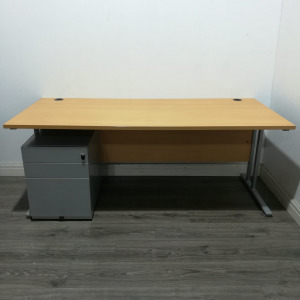 Used Large Rectangular Office Desk and Pedestal, Beech, W1800mm