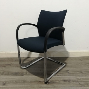 Used Senator Stackable Meeting / Conference Chair, Cantilever, Navy Blue
