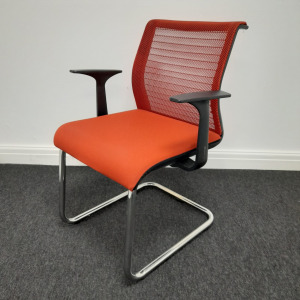 Used Steelcase Think Mesh Cantilever Meeting Chair, Burnt Orange