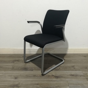 Second Hand Steelcase Stackable Conference Chair, Cantilever Frame, Black. Buy Online - City Used Office Furniture UK Shops