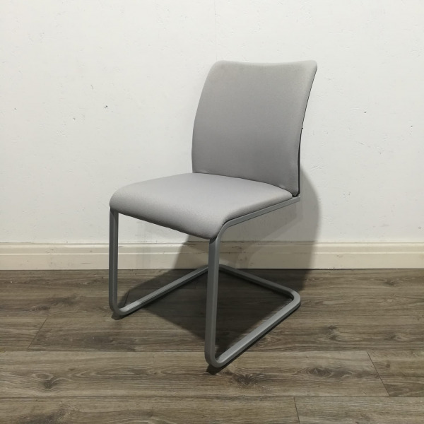 Used Steelcase Conference Chair, Cantilever Frame, Grey
