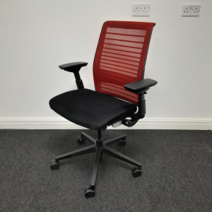 Used Steelcase Think V2 Mesh Office Chair, Fully Adjustable, Red / Black