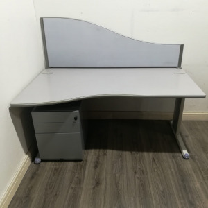 Used Wave Office Desk And 3 Drawer Pedestal, Stone, Width 1600mm
