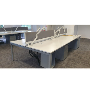 Used White Bench Desk (Back To Back), Grey Screens, Various Configs