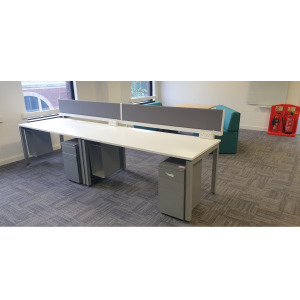 Used 2 Person White Bench Desk (Side To Side), Grey Screens